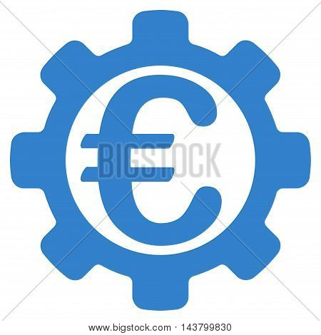 Euro Options icon. Vector style is flat iconic symbol with rounded angles, cobalt color, white background.