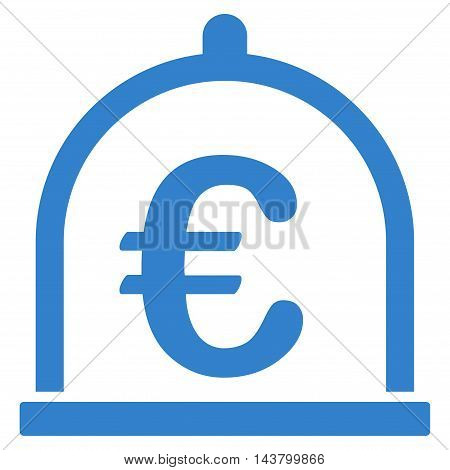Euro Storage icon. Vector style is flat iconic symbol with rounded angles, cobalt color, white background.
