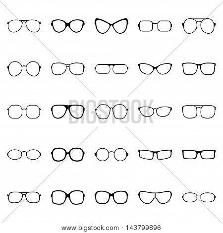 Set of glasses on white background, vector illustration