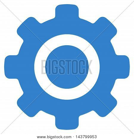 Gear icon. Vector style is flat iconic symbol with rounded angles, cobalt color, white background.