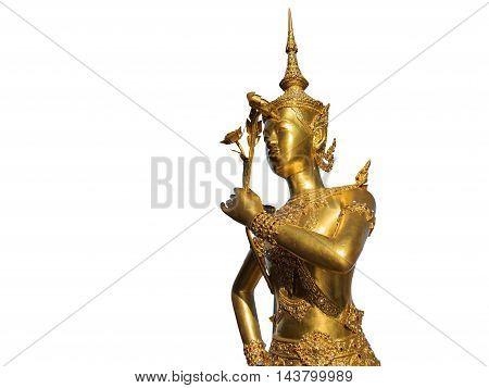 Angel Statue, Kinnaree, Isolated On White