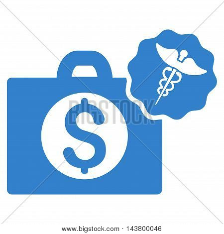 Medical Business icon. Vector style is flat iconic symbol with rounded angles, cobalt color, white background.