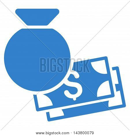 Money Bag icon. Vector style is flat iconic symbol with rounded angles, cobalt color, white background.