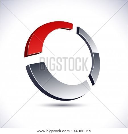 Abstract modern 3d ring emblem. Vector.