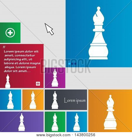 Chess Bishop Icon Sign. Buttons. Modern Interface Website Buttons With Cursor Pointer. Vector