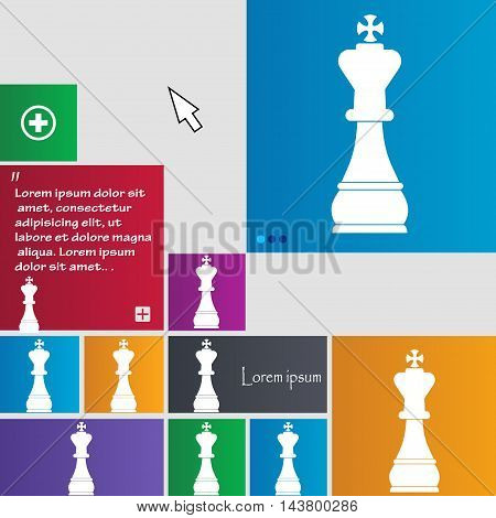 Chess King Icon Sign. Buttons. Modern Interface Website Buttons With Cursor Pointer. Vector