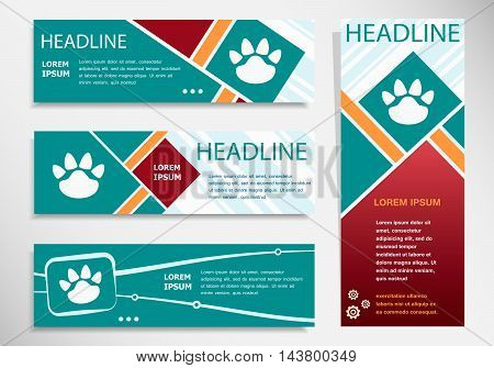 Paw Icon On Horizontal And Vertical Banner.