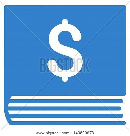 Sales Book icon. Vector style is flat iconic symbol with rounded angles, cobalt color, white background.