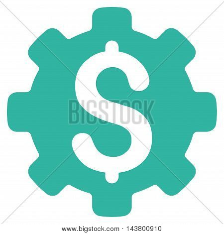Industrial Capital icon. Vector style is flat iconic symbol with rounded angles, cyan color, white background.