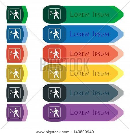 Tennis Player Icon Sign. Set Of Colorful, Bright Long Buttons With Additional Small Modules. Flat De