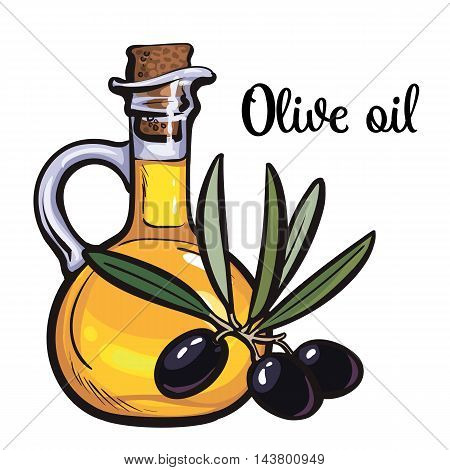 olive oil bottle with black olives isolated sketch style illustration on white background. beautiful realistic traditional oil bottle