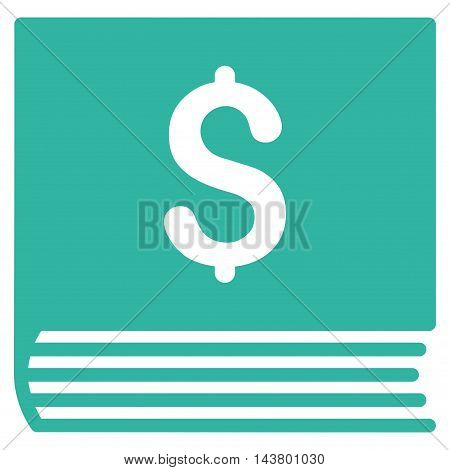 Sales Book icon. Vector style is flat iconic symbol with rounded angles, cyan color, white background.