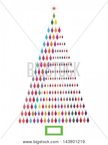 Asymmetric Christmas Tree  - colorful bulbs
