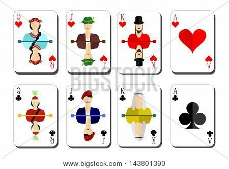 beautiful and original set of designer playing cards in the style of flat design.