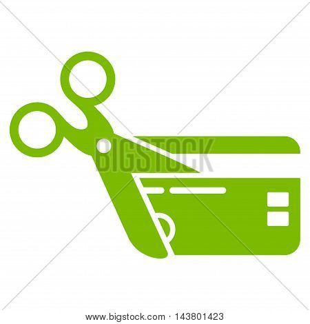 Cut Credit Card icon. Vector style is flat iconic symbol with rounded angles, eco green color, white background.