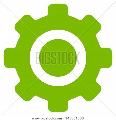 Gear icon. Vector style is flat iconic symbol with rounded angles, eco green color, white background.