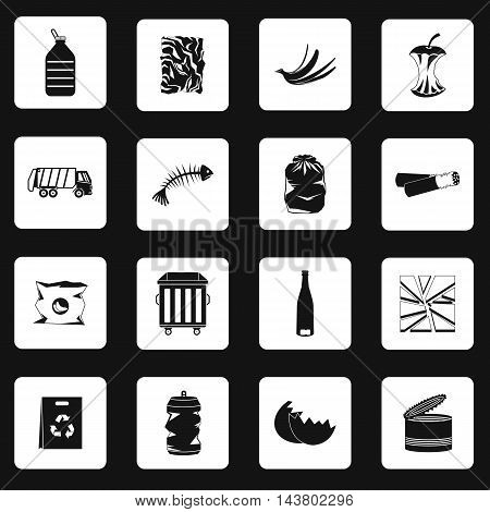 Garbage icons set in simple style. Waste ecology recycling and pollution set collection vector illustration