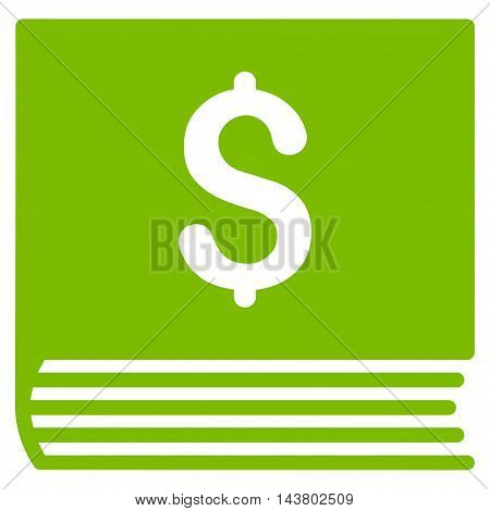 Sales Book icon. Vector style is flat iconic symbol with rounded angles, eco green color, white background.