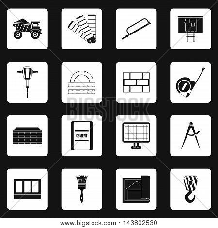 Building equipment icons set in simple style. Construction set collection vector illustration