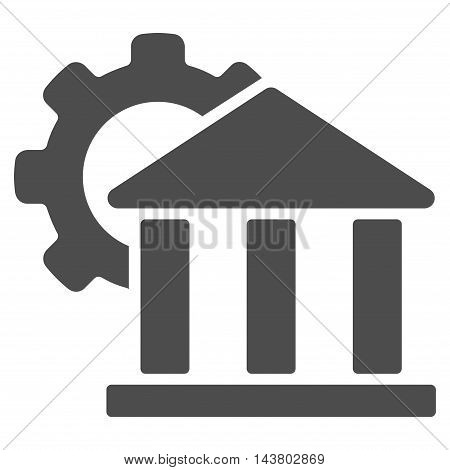 Bank Settings icon. Vector style is flat iconic symbol with rounded angles, gray color, white background.