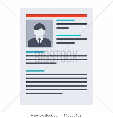 Human resource concept with resume in flat style.