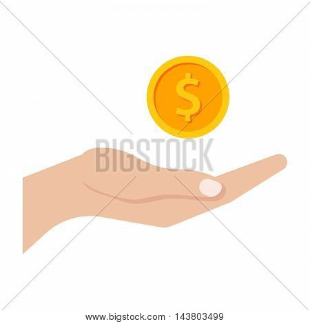 Profit concept with hand and gold coin.