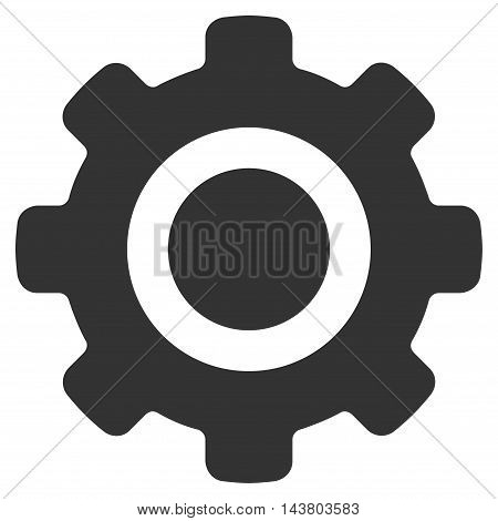 Gear icon. Vector style is flat iconic symbol with rounded angles, gray color, white background.