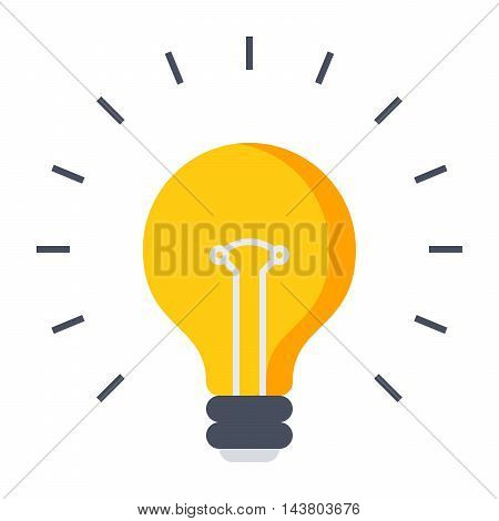 Innovative idea concept with light bulb in flat style.