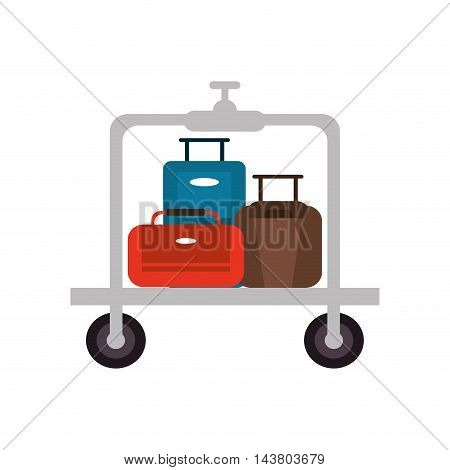 flat design luggage cart icon vector illustration