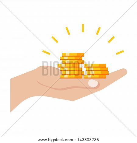 Profit concept with hand and golden coins.