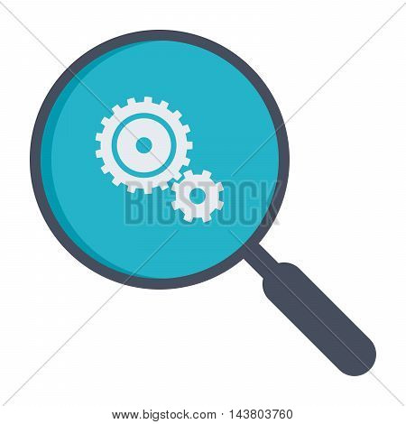 Analysis illustration with magnifying glass and gears.