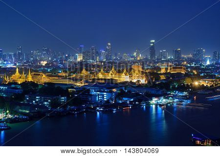 Grand Palace and Emerald Buddha Temple (Wat Phra Kaew) at twilight time Bangkok Thailand