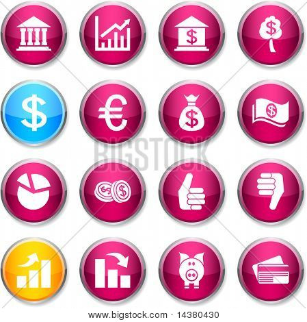 Money set of round glossy icons.