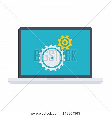 Testing software concept with laptop and wheel gears.