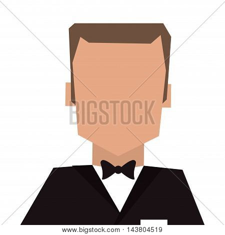 flat design man with tuxedo portrait icon vector illustration