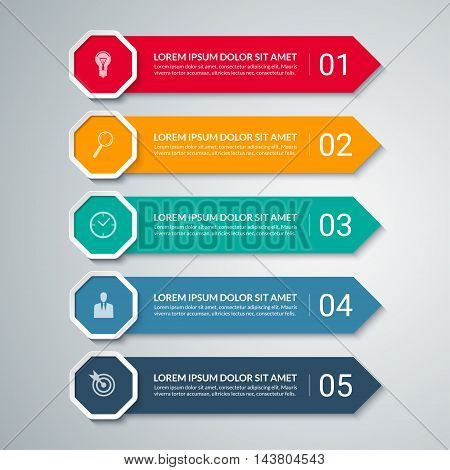 Infographic arrow design elements. Business template with 5 options, steps, parts. Can be used for diagram, graph, chart, report, data visualisation, web design. Colorful vector banner