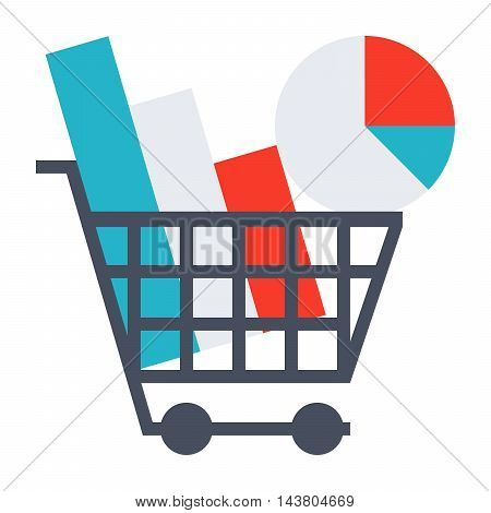 Market research concept with chart in shopping cart.