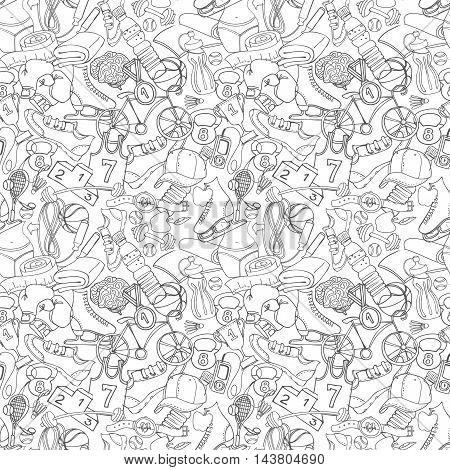 Vector illustration Black and white Sport fitness functional training background seamless hand drawn doodle style pattern. Winter summer and gym sport objects: workout cross fit yoga