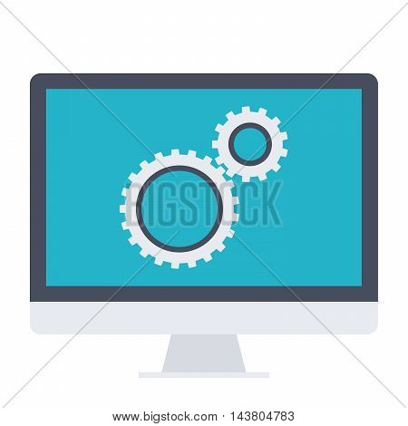 Testing software concept with computer and wheel gears.