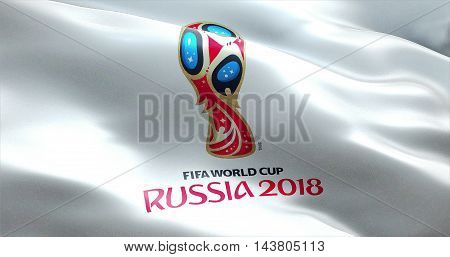 Moscow Russia June 14 2018 FIFA - waving fabric texture of the flag of official logo of the football world championship cup in Russia 2018 only editorial use