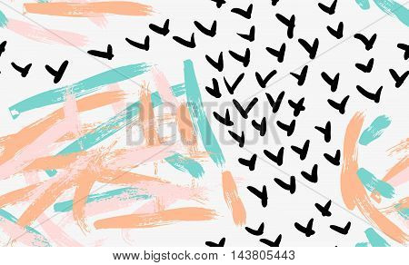 Abstract Light Brush Strokes And Black Check Marks