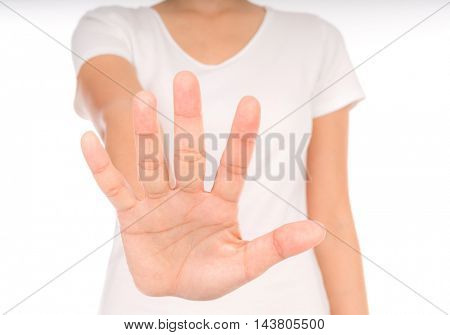 Empty woman hands over body isolated on background