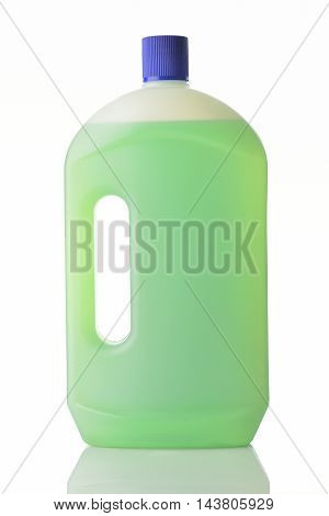 Household Cleaner in Green Color on White Backround