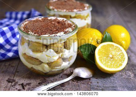 Lemon Tiramisu - Traditional Italian Dessert.