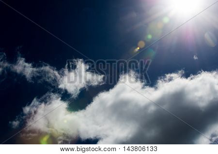 Clouds In The Blue Sky. The Sun Through The Lens. The Sun In The Photo Frame