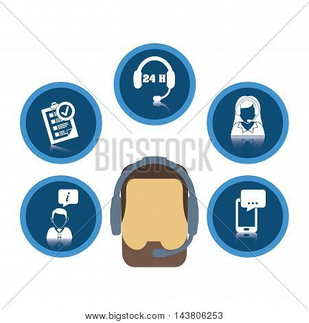 man headphone woman smartphone customer service technical service call center icon set. Colorful and flat design. Vector illustration