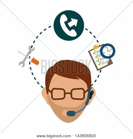 man headphone male phone checklist chronometer customer service technical service call center icon set. Colorful and flat design. Vector illustration