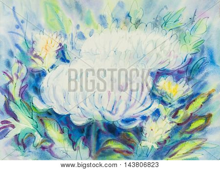 Abstract watercolor original painting whitepurple color of chrysanthemum flowers and green leaves in blue color background.