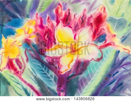 Abstract watercolor original painting purpleyellow color of Frangipani flowers and green leaves in blue color background.