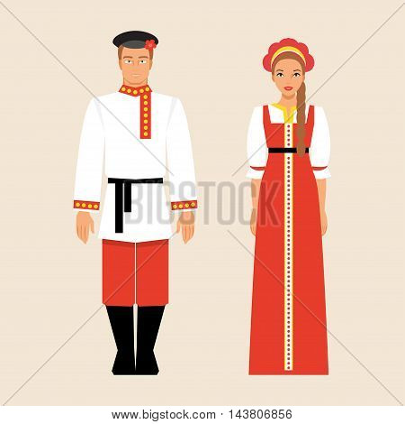 Russian men and women in traditional costumes and headdresses